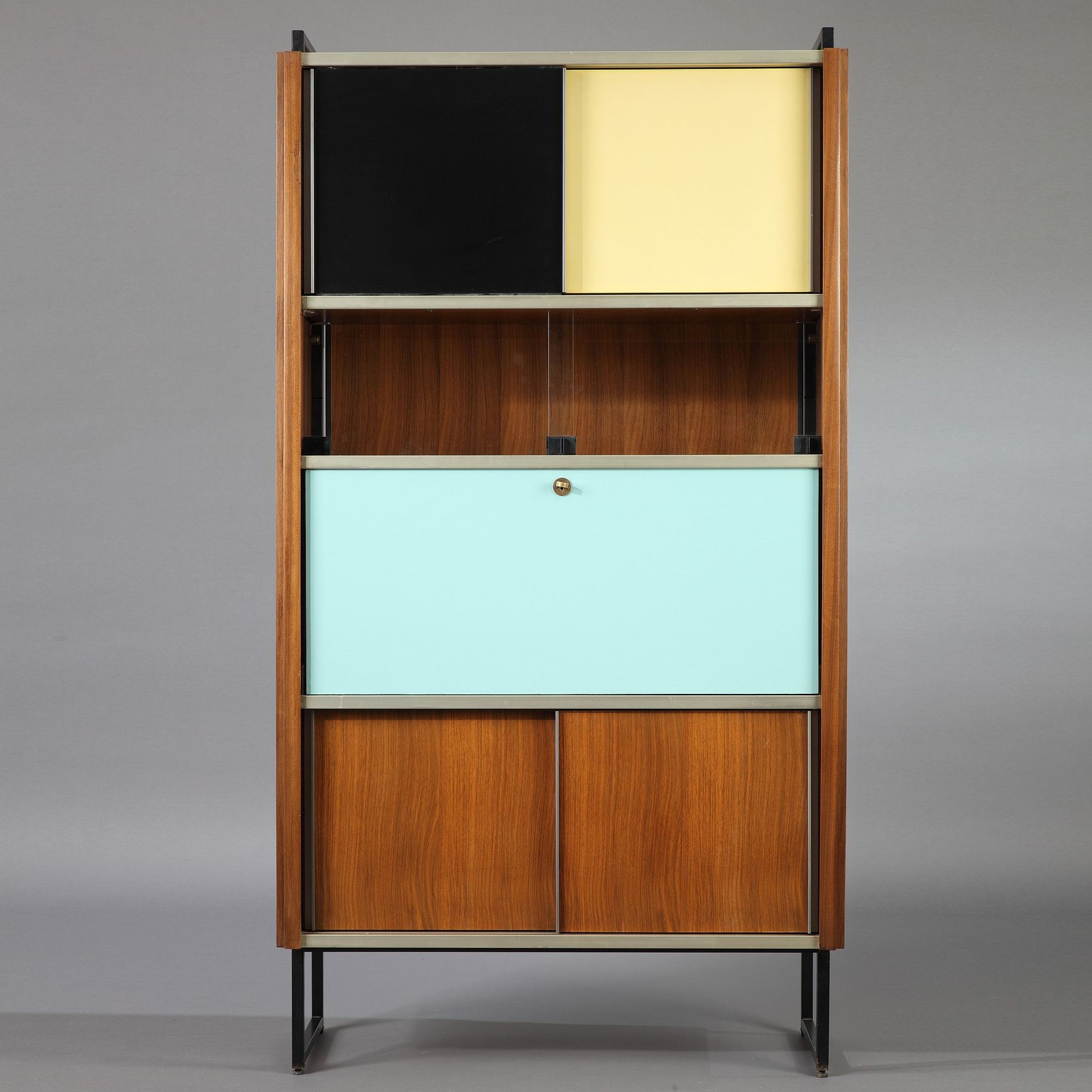 Efa Secretaire Bookcase In Rosewood Aluminium And Black Laquered Metal By Georges Frydman