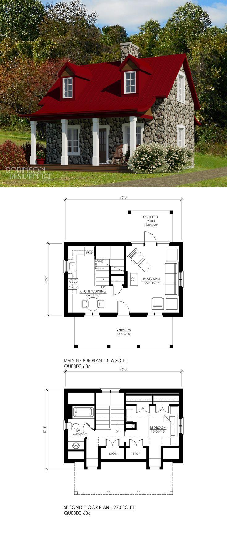 25 Best Tiny House Plansquebec 686 686 Sq Ft 1 Bedroom 1 Bath In 2020 Tiny House Plans House Plans Floor Plans
