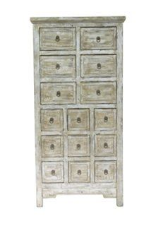 Alfie Tall 15-Drawer Cabinet, Gray