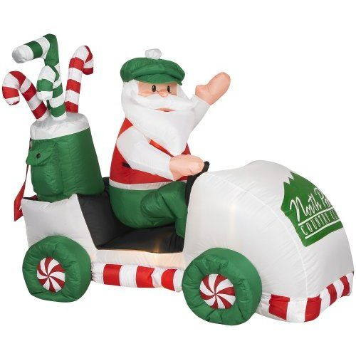 Amazon Com Gemmy 1016800 Airblown Inflatable Santa In A Golf Cart Christmas Blow Up Inflatable Santa Christmas Inflatables