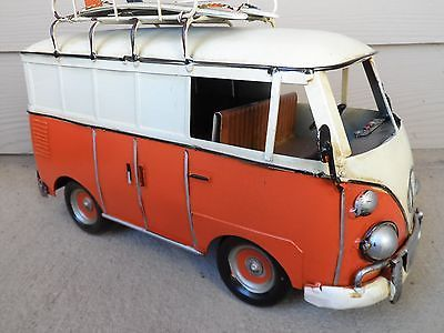 METAL ANTIQUE REPLICA VOLKSWAGEN VW BEETLE BUS SURF BOARD BUG VAN ORANGE RARE