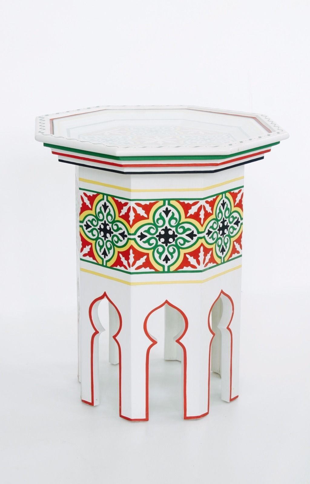 Hand Painted Moroccan octagonal shaped white side table