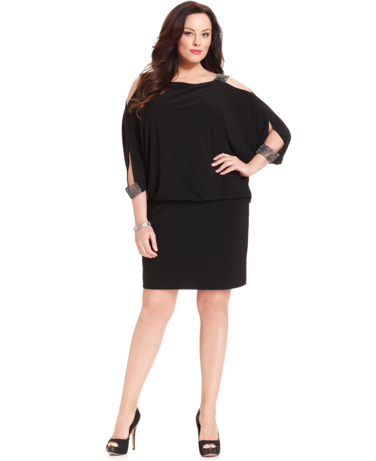 Black sleeved dress plus sizes