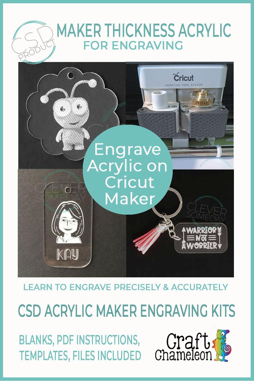 CSD Blank Clear or Color Acrylic Engraving on Cricut Maker Bundle