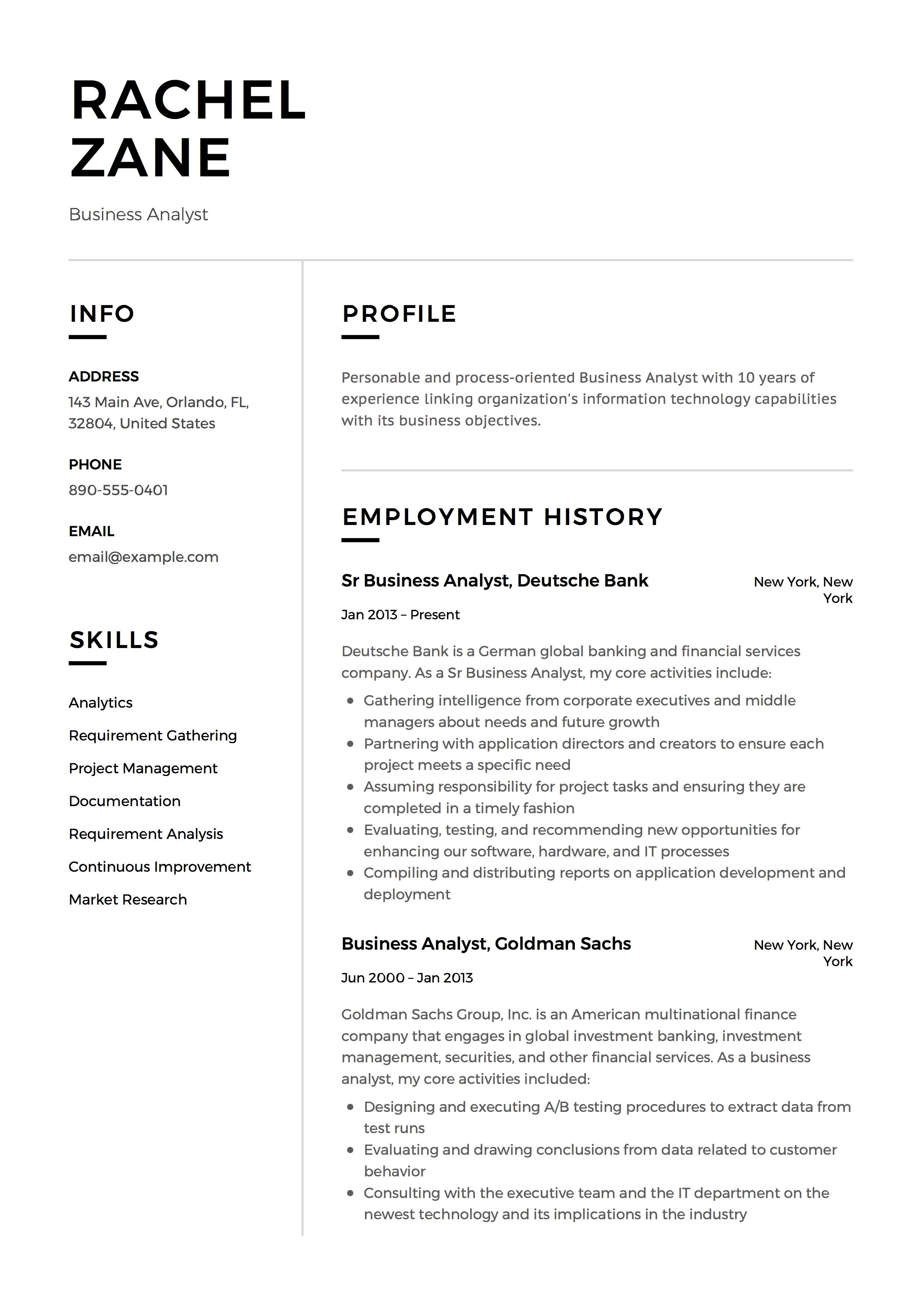 business analyst resume sample  template  example  cv  formal  design