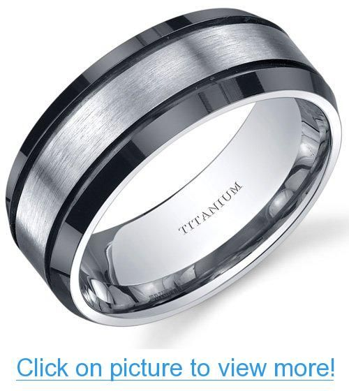 Beveled Edge Black And Silver Tone Mens 8mm Titanium Wedding Band Ring  Sizes 8 To 13