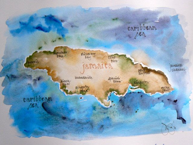 JamaicaJust the outline of the island and a heart where Ochos