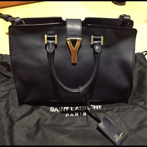d223b25e16b 1650🅿 🅿️Navy blue YSL classic small cabas Y bag Saint laurent petit cabas  y-ligne navy blue leather bag with suede interior.