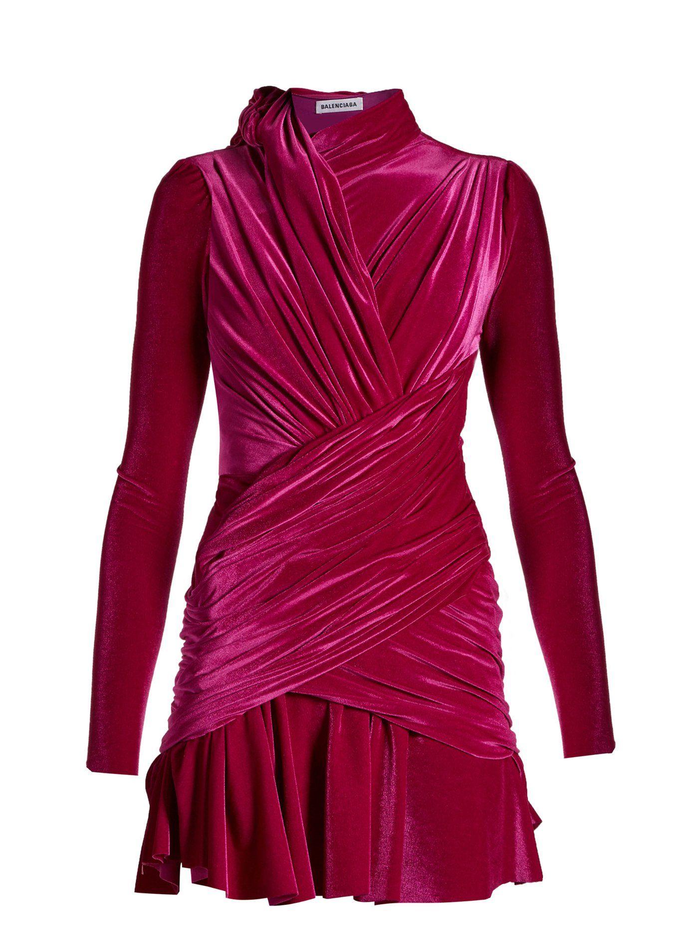 fd6f192270e2 Draped velvet mini dress | Balenciaga | MATCHESFASHION.COM | WINTER ...