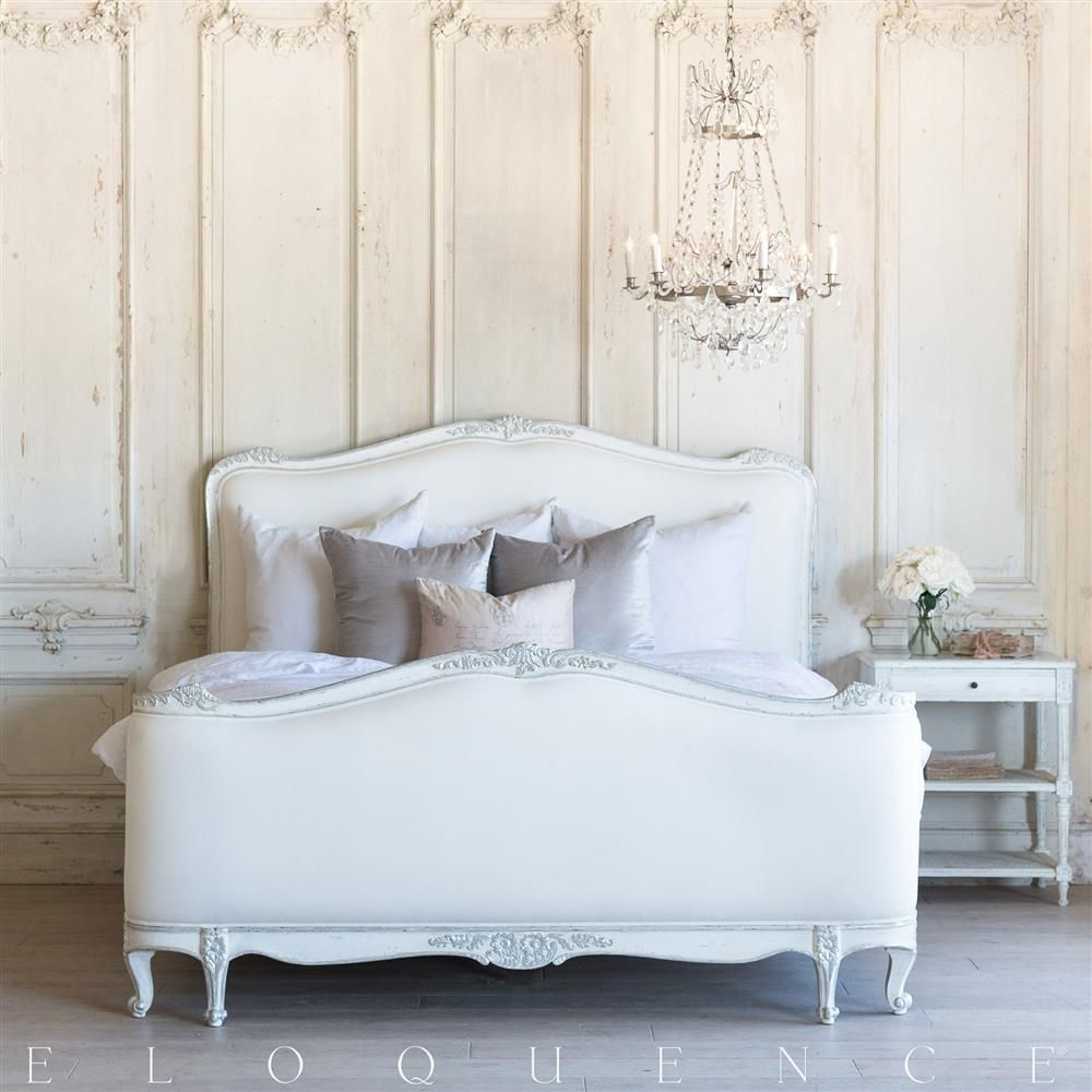 Best Eloquence Sophia Queen Bed In Silver Antique White Two 400 x 300