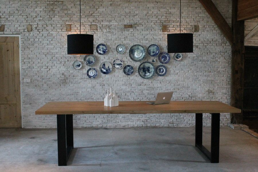 Eiken houten tafel met stalen onderstel Koak design   Keuken   Pinterest   Tables, Salvaged