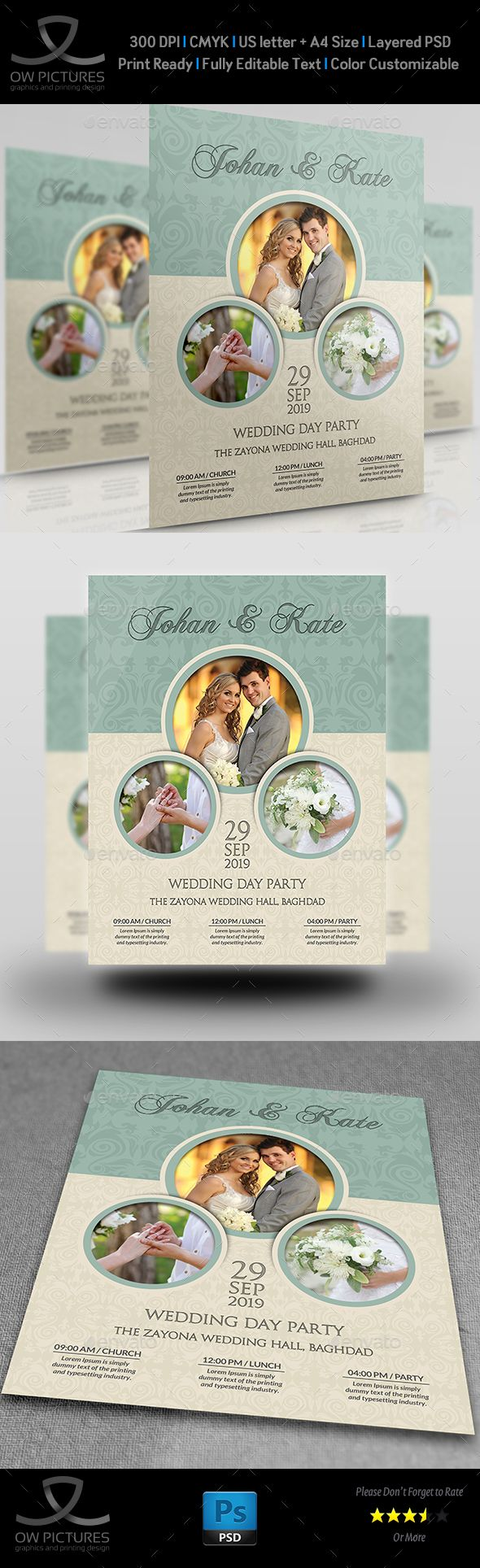 Wedding Party Flyer Template Vol.6 — Photoshop Psd #lunch #wedding Flyer •  Available Here