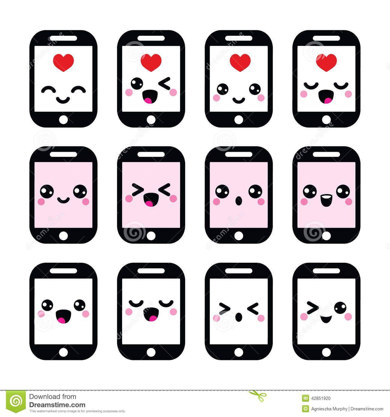Expresiones Kawaii Phone icon, Business vector illustration