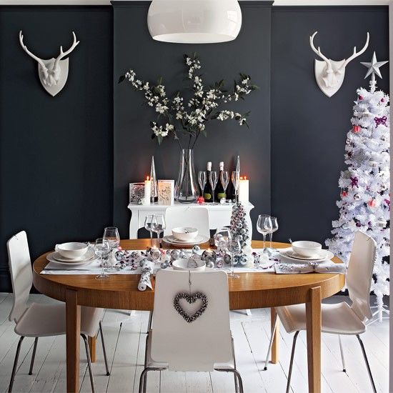 Glamorous Christmas Dining Room Ideas  Dark Walls Traditional Captivating Dark Grey Dining Room Design Ideas