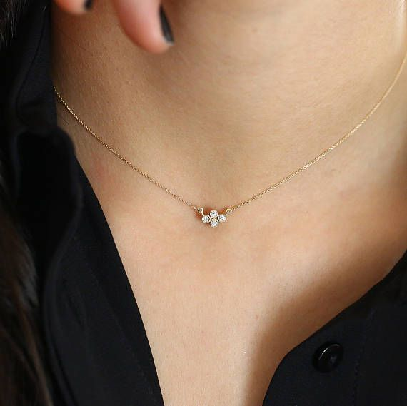 Dainty Gold Diamond Necklace 14k Solid Gold Four Stone Etsy In 2020 Gold Diamond Necklace Layering Diamond Necklaces Thin Gold Chain