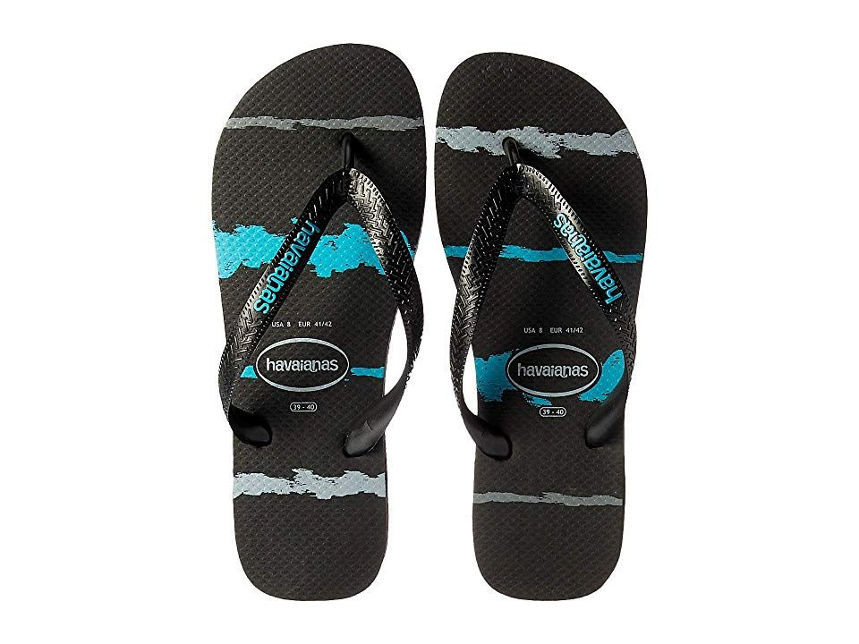 0e49c748a Havaianas Top Tropical Glitch Sandal (Black Blue) Men s Shoes. Take the fun