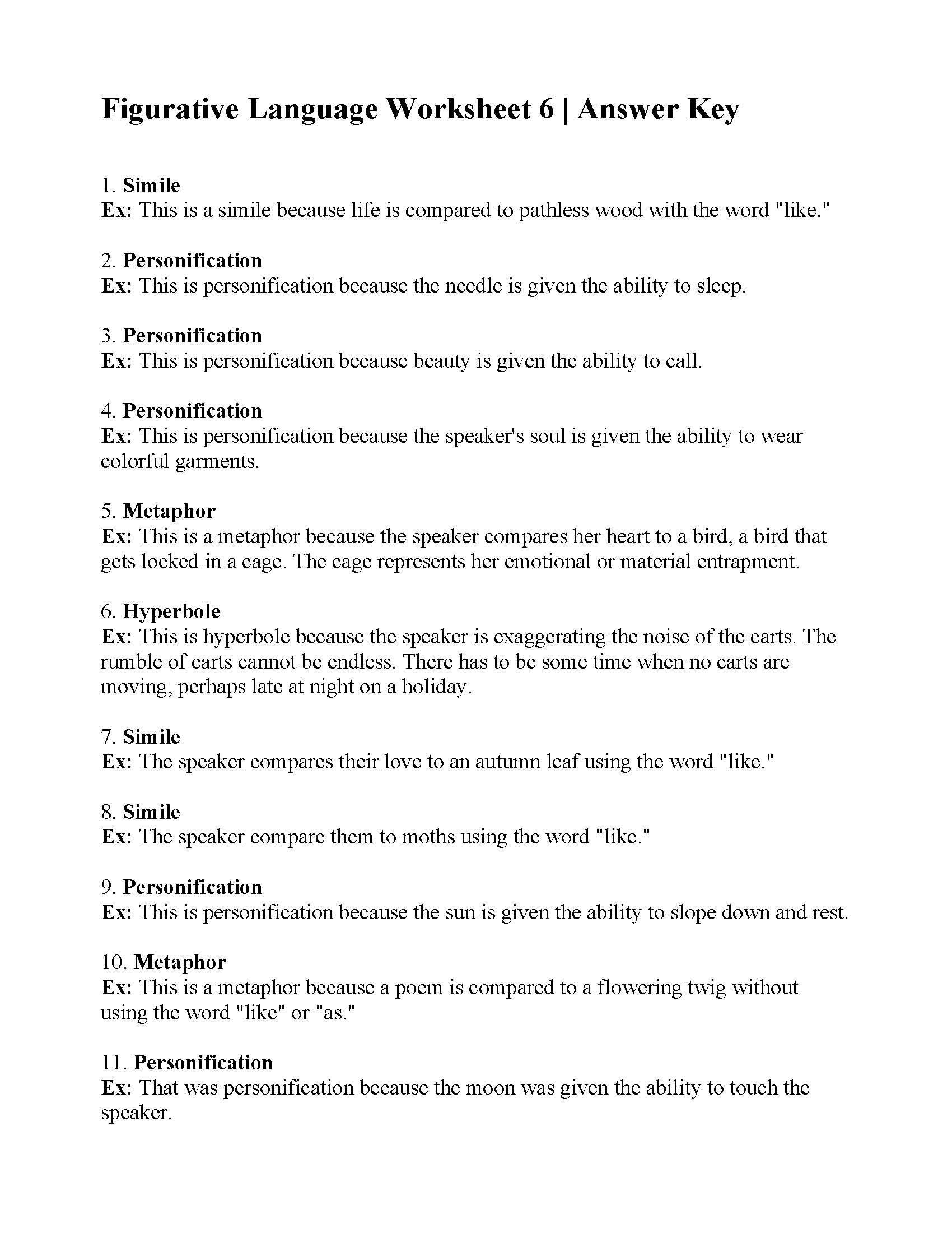 Figurative Language Worksheet 6 Answers Language Worksheets Figurative Language Worksheet Figurative Language Review [ 2200 x 1700 Pixel ]