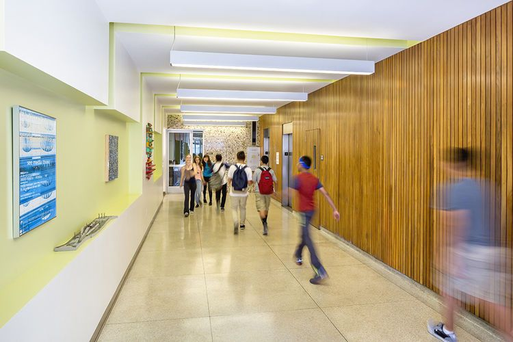Modern Mid Century Los Angeles School Reuse Hallway.