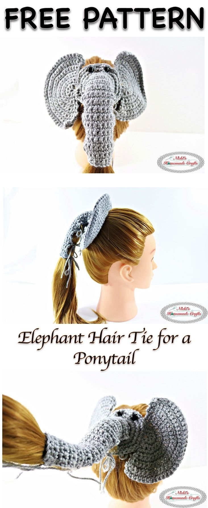Elephant Hair tie for a Ponytail - Free Crochet Pattern   Tejido ...