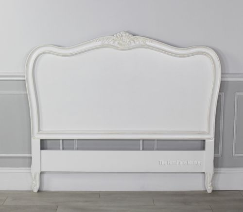 French Chateau White 5ft King Size Carved Headboard Bed Furniture San46 W5 Carved Headboard Headboard Bed Furniture