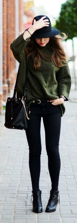 Pair army green with all black everything for an ultra chic look like this one.