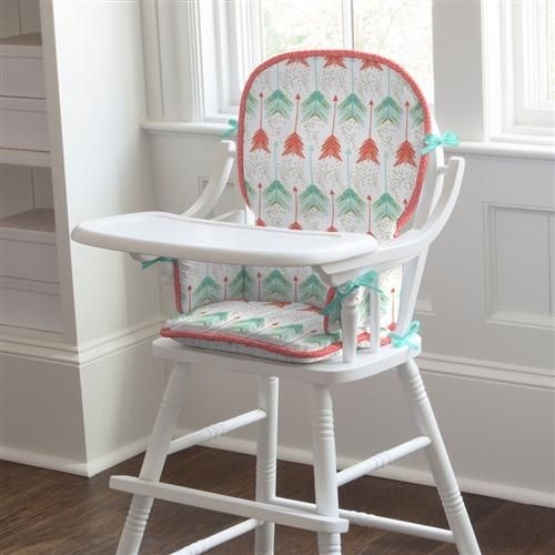 Coral and Teal Arrow High Chair Pad