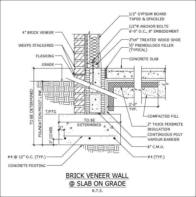 Free CAD Details-Brick Veneer Wall & Slab – CAD Design