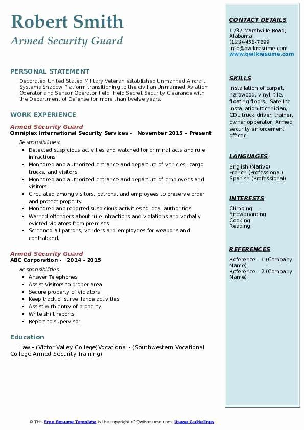 Security Guard Resume Examples Lovely Armed Security Guard Resume Samples Security Guard Jobs Security Resume Armed Security Guard