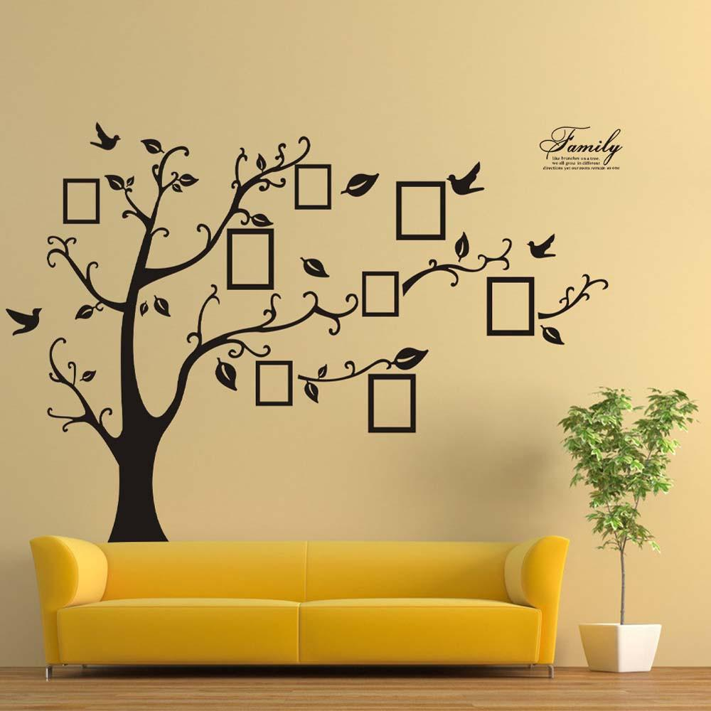 180*250cm 3D DIY Photo Tree PVC Wall Decals Adhesive Wall Stickers ...