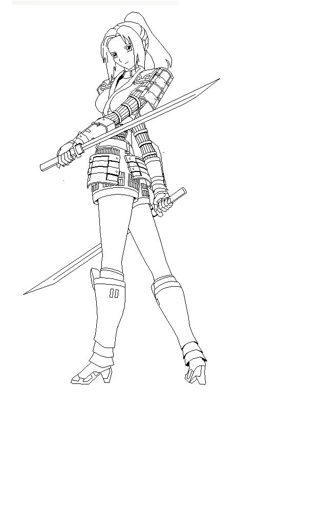 Ninja Sword Woman Coloring Page Epic pics Pinterest