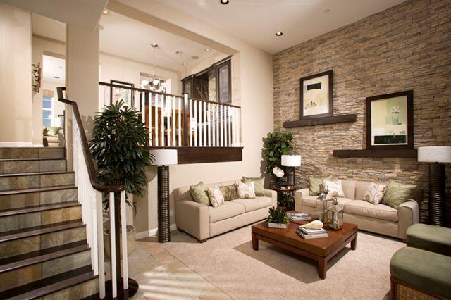 steinwand wohnzimmer naturstein holzboden einbauleuchten Haus - wohnzimmer mit steinwand