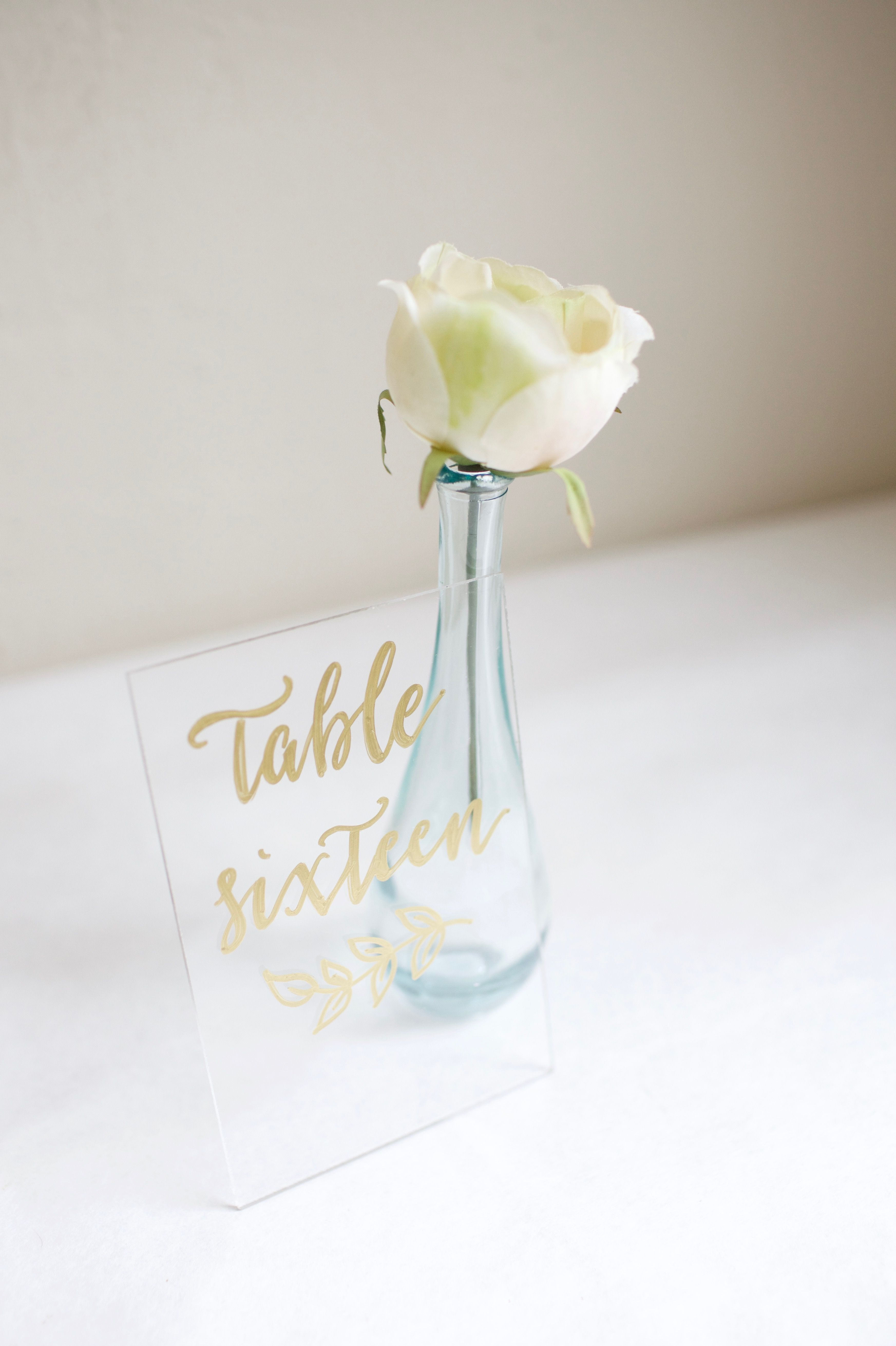 Clear acrylic table number with gold calligraphy and leaf garland clear acrylic table number with gold calligraphy and leaf garland detail hand painted and custom reviewsmspy
