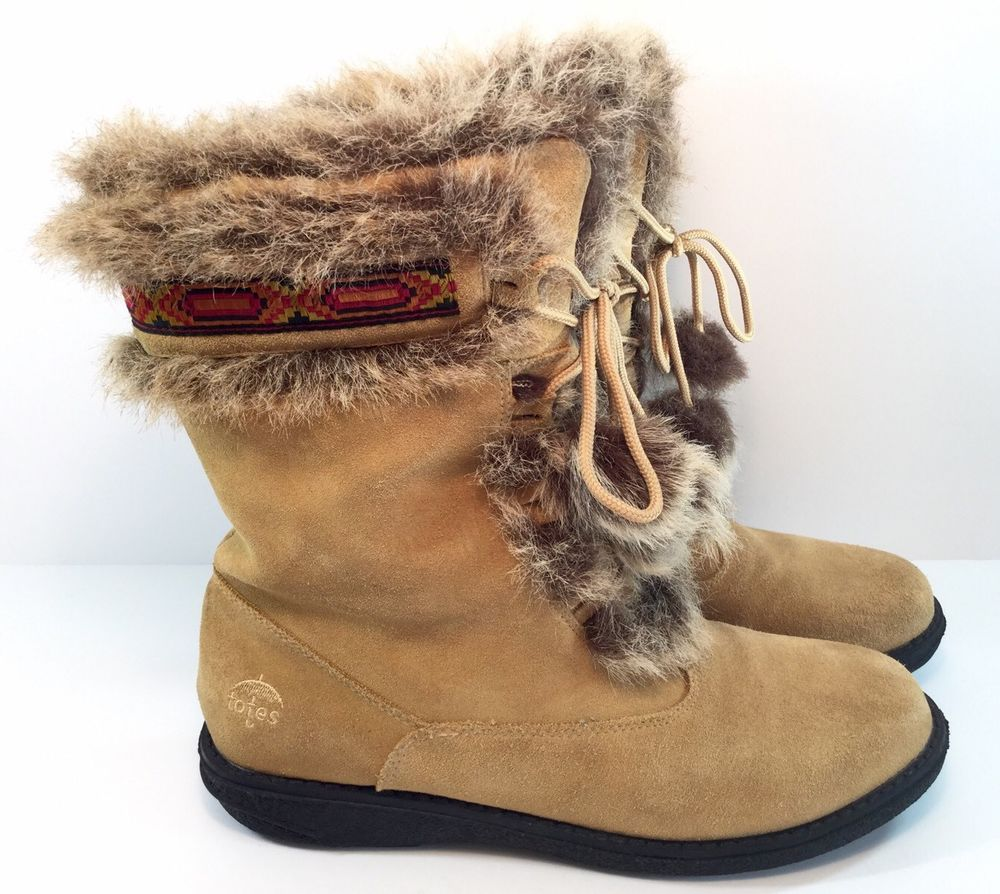 Woman's Totes Talya Tan Muckluk Brown Suede Fur Lined Boots Sz 11 M | eBay