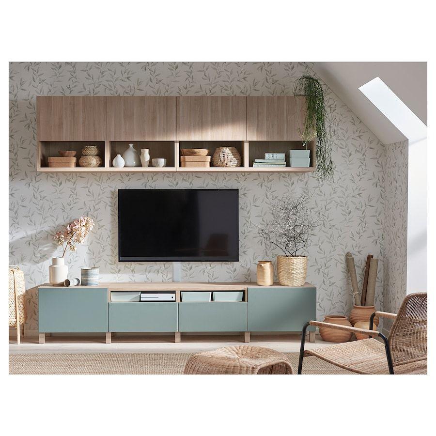 "BESTÅ TV storage combination, walnut effect light gray Lappviken, Notviken/Stubbarp gray-green, 94 1/2x16 1/2x90 1/2"". Find it here! - IKEA"