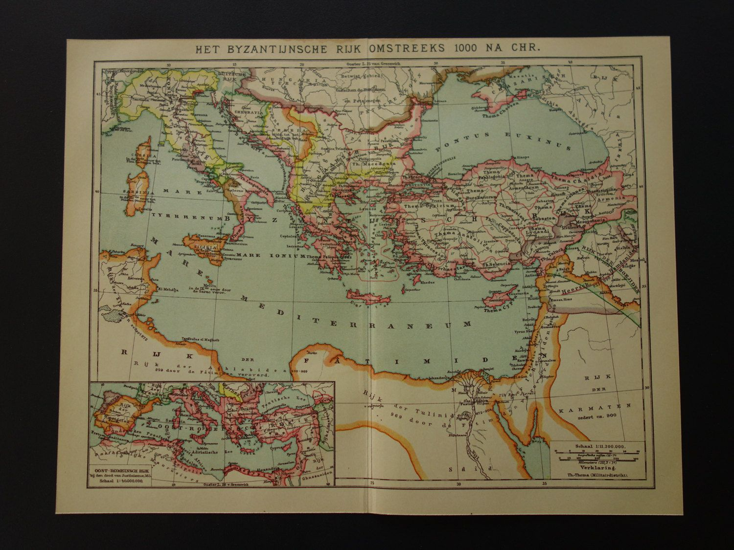 Antique Map Of The Byzantine Empire