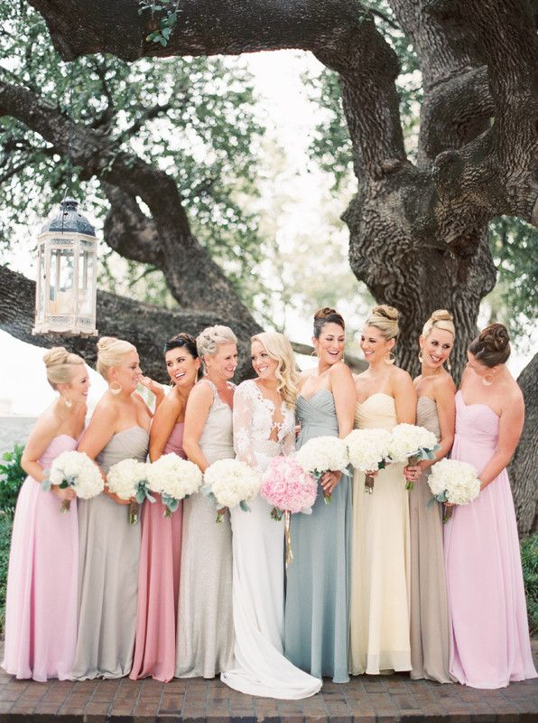 1ec7e3ab823 Mix-and-match bridesmaids dresses - floor-length chiffon gowns in various  shades of pink
