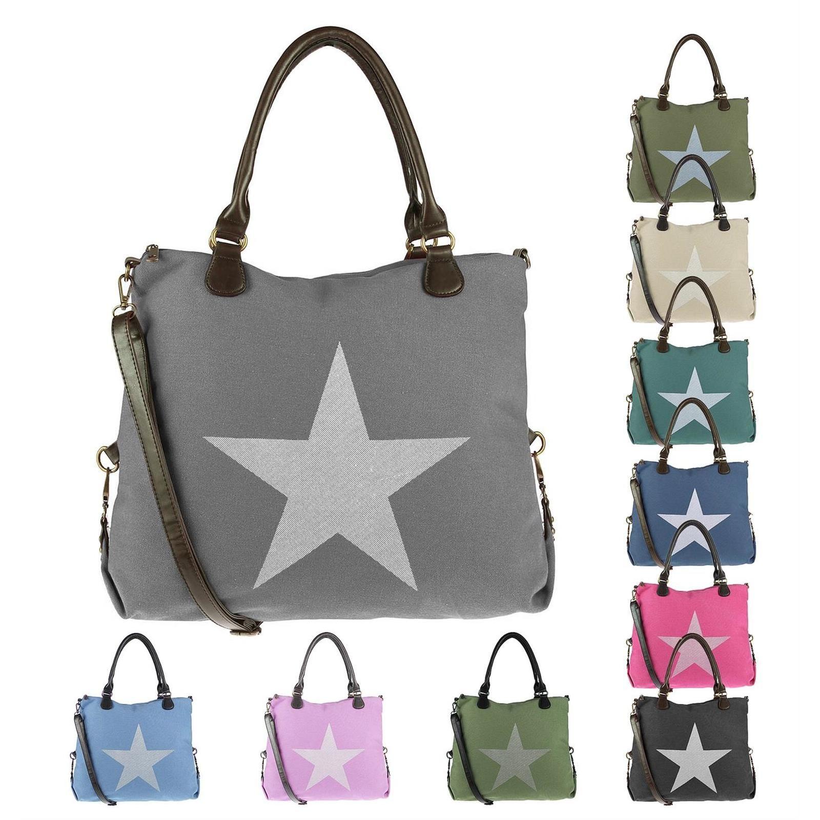 Damen XXL Stern Shopper Tasche Handtasche Damentasche Canvas