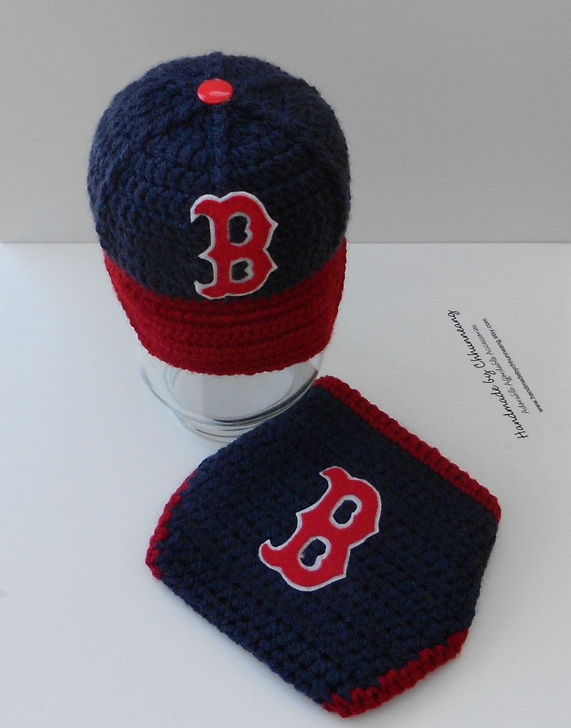 99a42fdd1f6 Boston Red Sox Crochet Baby Baseball Cap and Diaper Set by  handmadebychhunneang