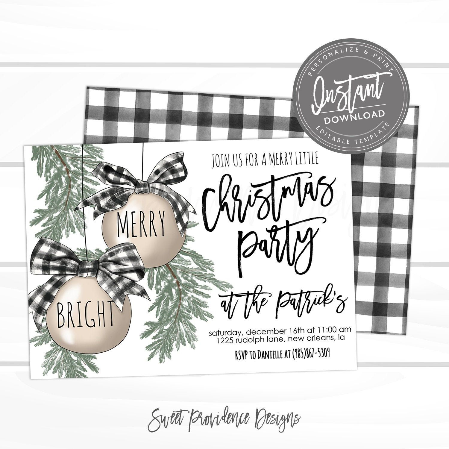 Christmas Invitation Christmas Bells Editable Christmas Party Template Merry And Bright Christmas Invite Buffalo Plaid Instant Access Sweet Providence De Christmas Bridal Shower Invitations Christmas Bridal Showers Bridal Shower Invitations
