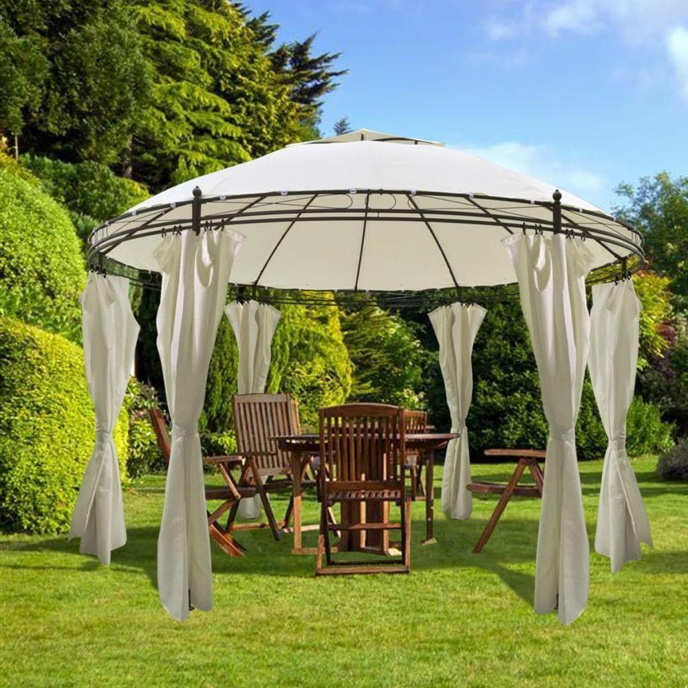 Vidaxl Tonnelle Ronde Avec Rideaux 3 5x2 7 M Blanc Creme Tente De Reception Gazebos Jardim Com Piscina Pergolado