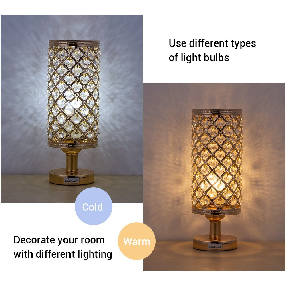 Haitral Crystal Bedside Table Lamps Modern Gold Nightstand Desk Lamp With Beads Lampshade Metal Base Stylish Bedside Bedside Lamps Nz Bedside Lamp Modern Lamp