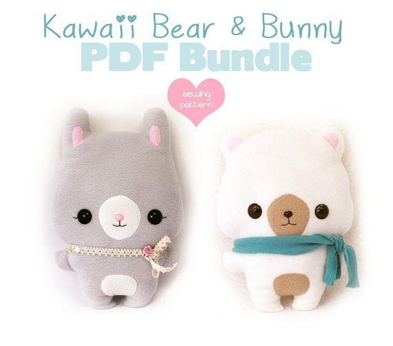 PDF sewing pattern bundle - Easter Bear and Bunny Rabbit stuffed ...