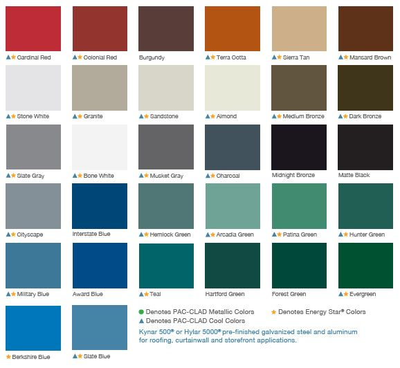 Standing Seam Metal Roof Color Chart Metal Roof Colors Standing Seam Metal Roof Roof Colors