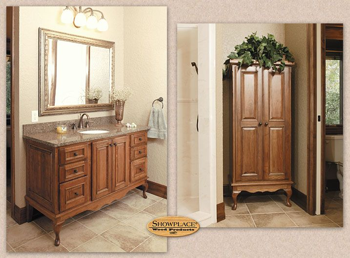 In The Beautiful Master Bath, A Facing Pair Of Showplace Vanities Take On  The Look Of Freestanding Furniture With The Distinctive Queen Anne Base  Style.