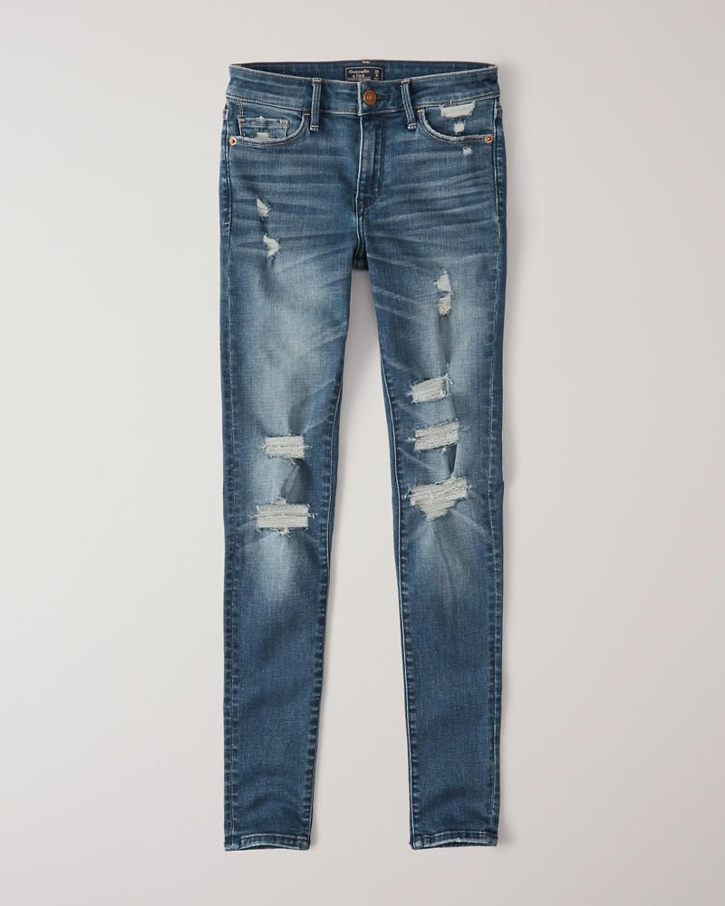 ca0f0f34274 Womens Ripped Low Rise Super Skinny Jeans