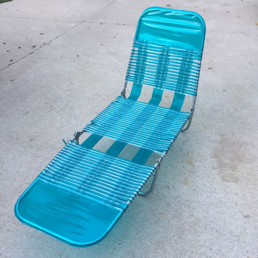 Vintage Metal Lounge Folding Beach Lawn Chair Vinyl Plastic Aluminum Blue Ebay