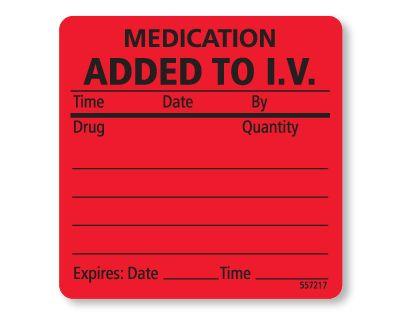 Medication Added To Iv Labels Vetrimark Medical Labels Vet Clinics