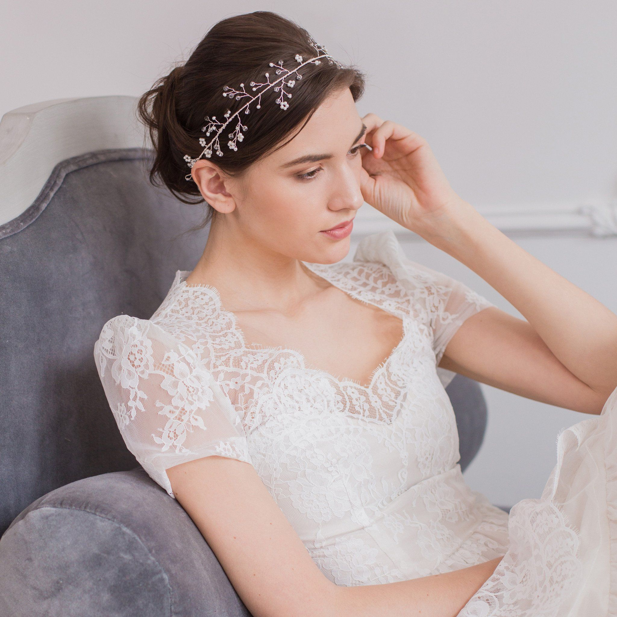 Wedding hair vine silver crystal and pearl - 'Avery'