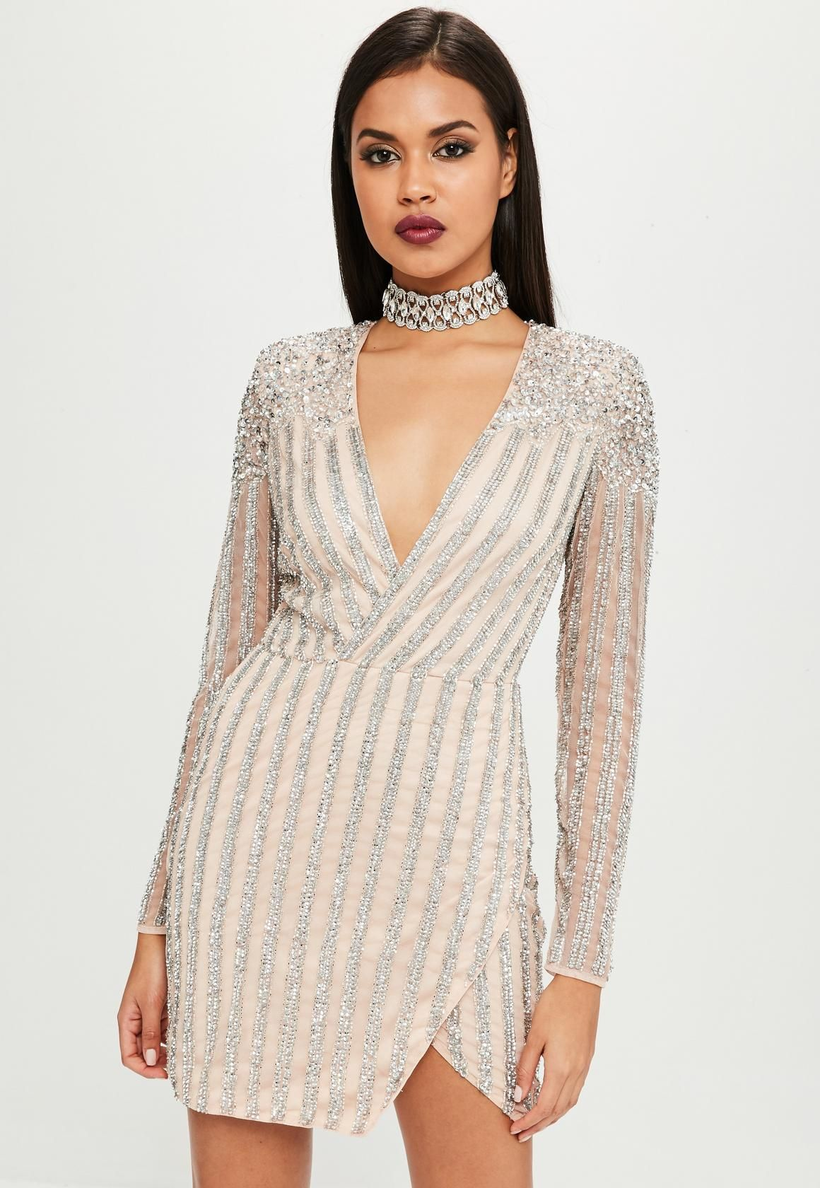 43c819fc4ee6 Carli Bybel x Missguided Nude Embellished Mini Dress | cute clothes ...