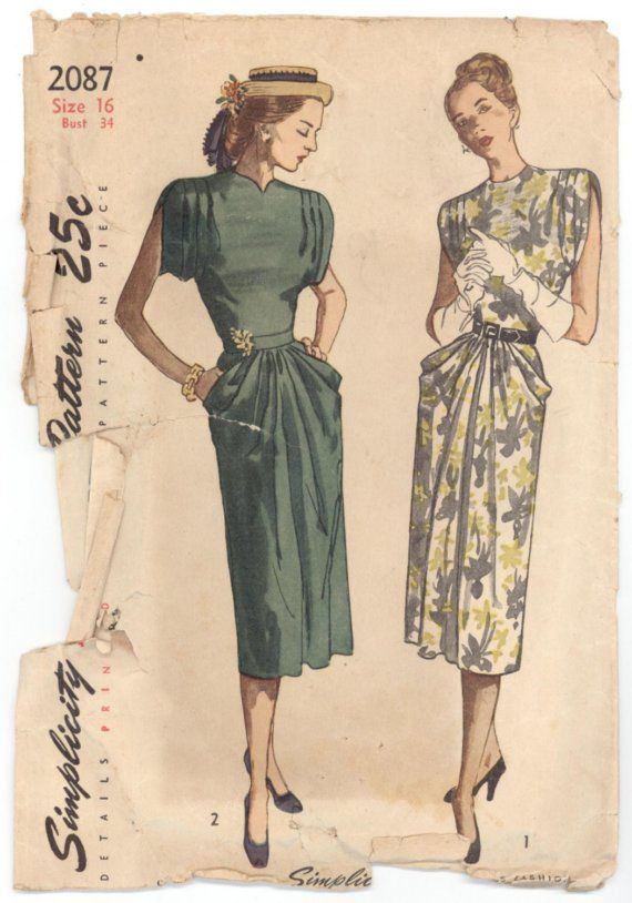 1940s dress pattern | Patterns: 1920\'s, 1930\'s, 1940\'s | Pinterest ...